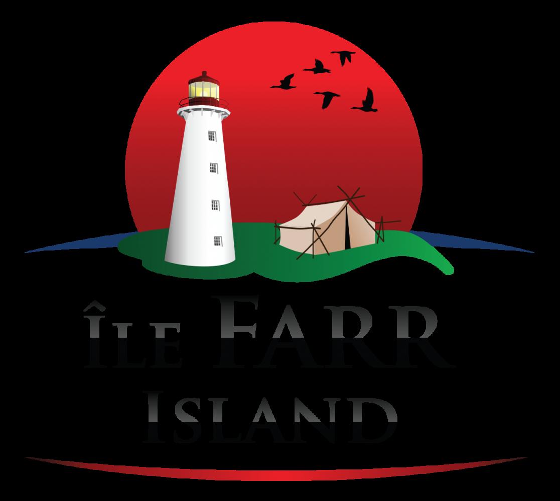 Farr Island logo. The Lake Temiskaming Island is owned by the Presidents' Suites / Le logo de l'ïle Farr. L'île située sur le lac Témiskaming est appartenue apr les Suites des Présidents