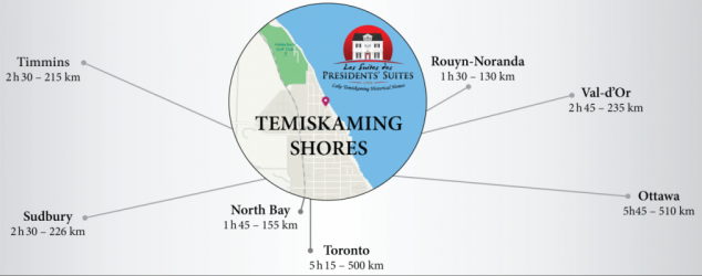 Map of Temiskaming Shores as a regional hub for Northern-eastern Ontario. Perfect location for a business destination and vacation rentals