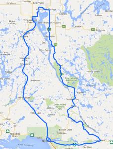 Map of the Lake Temiskaming loop tour / Carte du tour du lac Témiskaming.