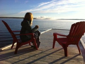 Enjoying the lake Temiskaming sunrise on our private dock at the Presidents' Suites - Holidays, spa getaway, corporate stay, meeting, wellness retreat