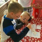 Groups with children - Assembling the treasure map, part of the pirate treasure hunt on Farr Island