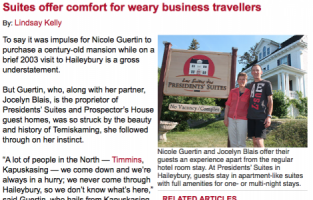 Northern Ontario Business media coverage of the Presidents' Suites / couverture médiatique des Suites des Présidents par le Northern Ontario Business
