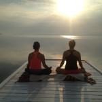 Morning meditation on dock at the Presidents' Suites and enjoying the sunrise on lake Temiskaming. / Méditation du matin sur le quai aux Suites des Présidents en profitant du levée de soleil sur le lac Témiskaming.