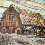 Hilliardton Barn, Mixed media (acrylic/pastel) by Laura Landers