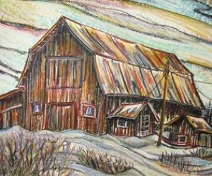 Hilliardton Barn, Mixed media (acrylic/pastel) by Laura Landers