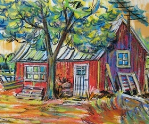 Red Tool Shed - Mixed media (acrylic/pastel) by Laura Landers