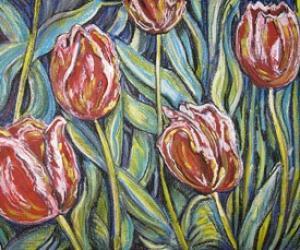Tulip Fantasy - Mixed media (acrylic/pastel) by Laura Landers
