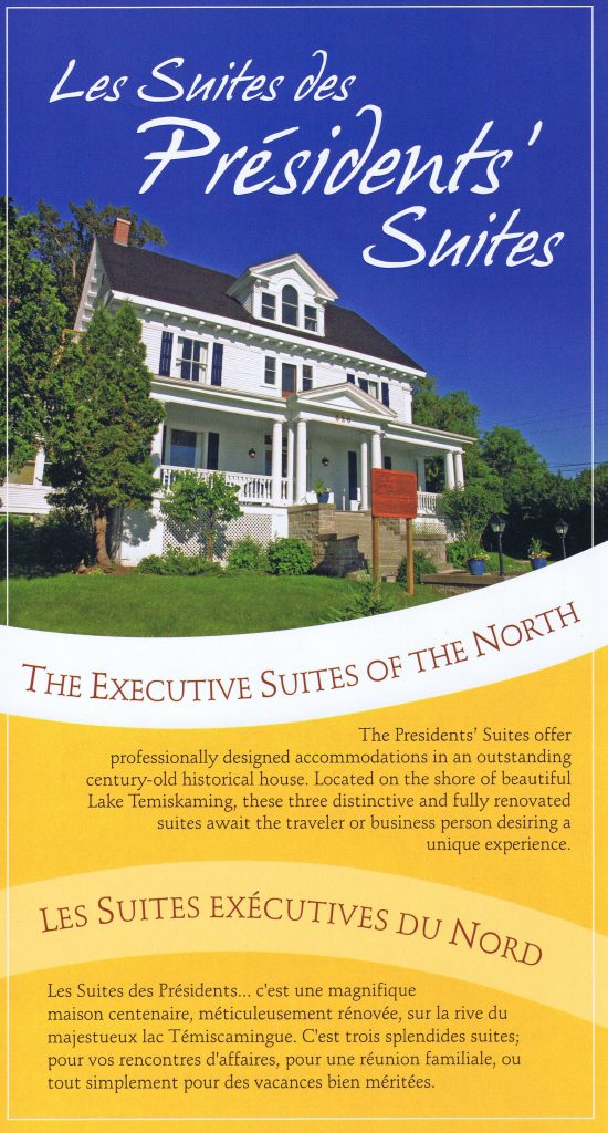 First marketing brochure of the Presidents' Suites - Première brochure promotionnelle des Suites des Présidents