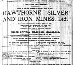 Hawthorne Silver and Iron Mines share offering from the Cobalt Silver Rush days