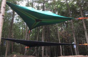 Tentsile Stingray tent with a Trillium hammock on Farr Island