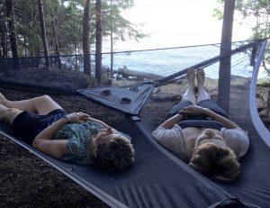 Relaxing on a Tentsile Trillium hammock on Farr Island