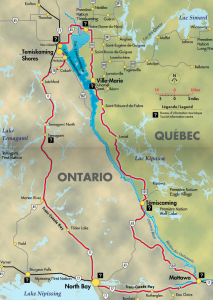 Lake Temisakming Tour map - Carte du tour du lac Témiscamingue