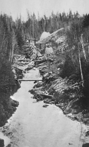 Mill creek 200ft log chute constructed by J.R. Booth to move logs to Lake Temiskaming