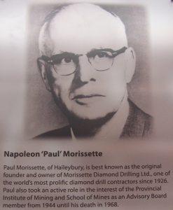 Napoléon (Paul) Morissette, started Norissette Diamond Drilling in Haileybury