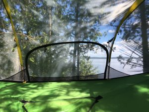 Inside view in your Tentsile treehouse glamping on Lake Temiskaming Farr Island