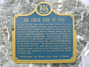 The Matheson Great Fire of 1916 Plaque. Several of the victims are buried at the Moore's Cove Cemetery near Haileybury.