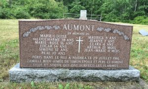 Aumont Family Headstone at Moore's Cove Cemetery. These family members perished in the Matheson (Nushka) 1916 great fire.