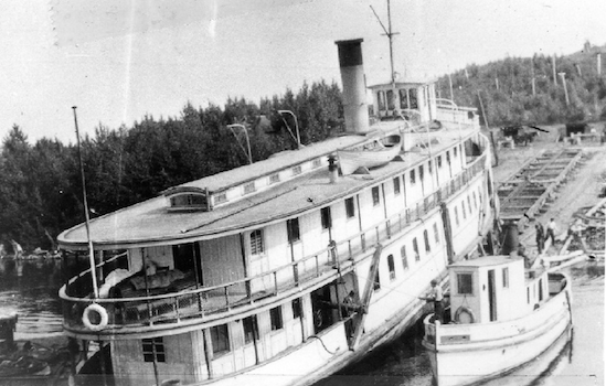 The Meteor steam ship being brought into the Moore's Cove Shipyard. The Meteor is the most famous vessel to have travelled on Lake Temiskaming.