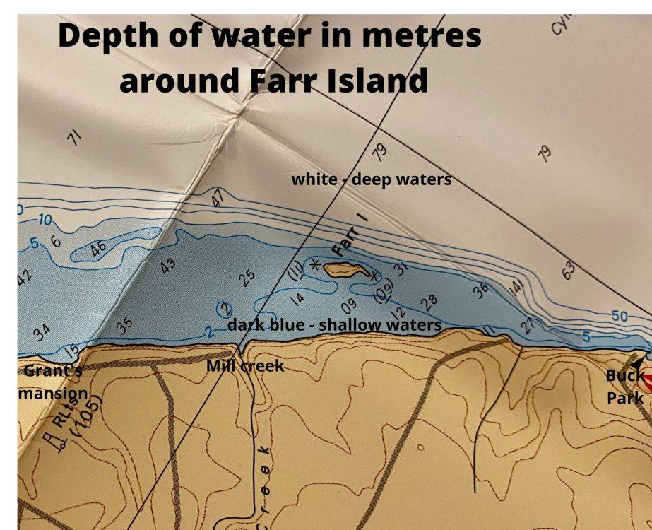 Fishing water depths around Farr Island on Lake Temiskaming