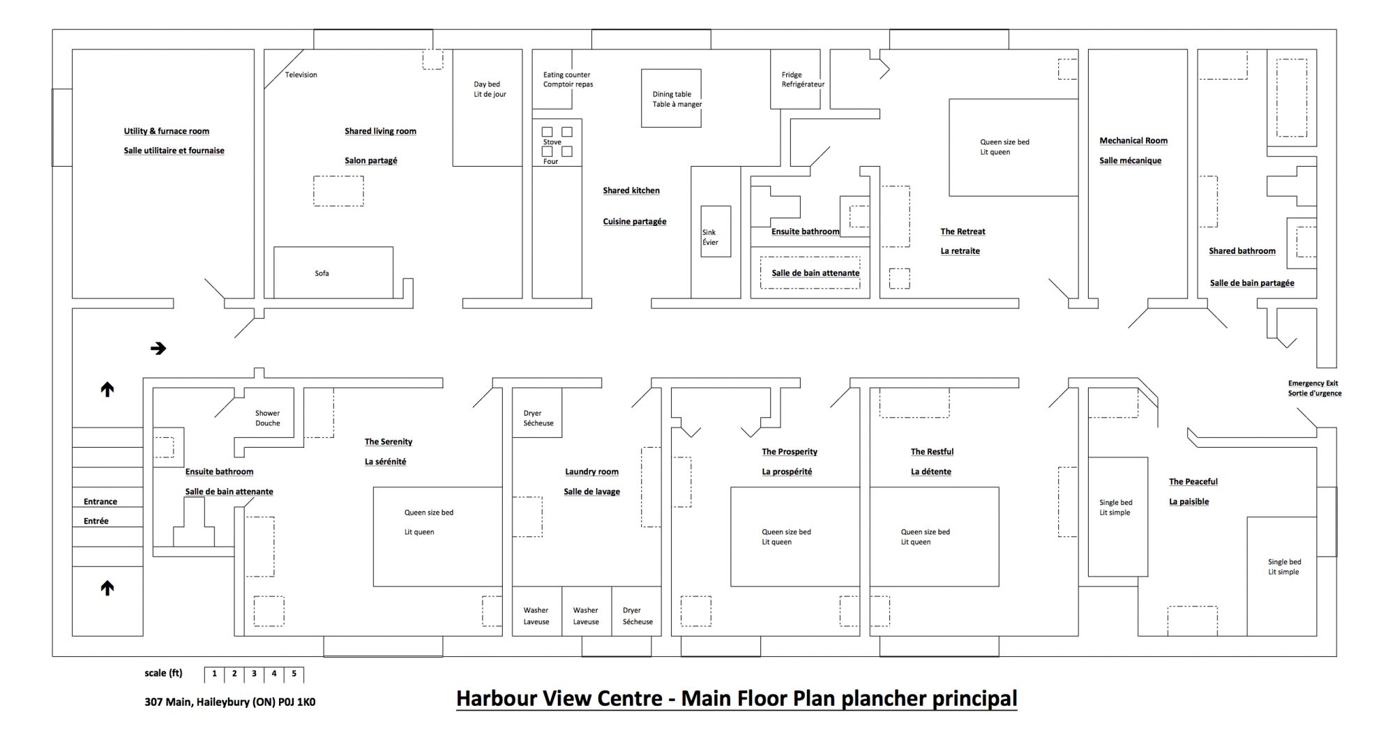 Main floor plan of the Harbour View Centre vacation rental
