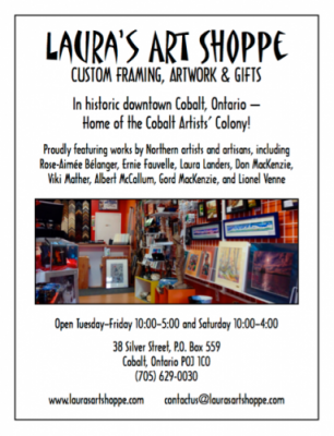 Laura's Art Shoppe located in Cobalt a few minutes from Haileybury (Temiskaming Shores)