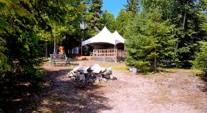 Twin peak party tent on Farr Island great for Glamping