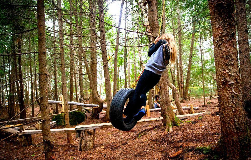 Fun swinging in the children park on Farr Island