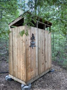 Compostable glamping outhouse on Farr Island