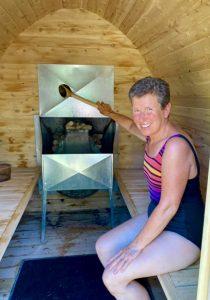 Enjoying sauna on Farr Island