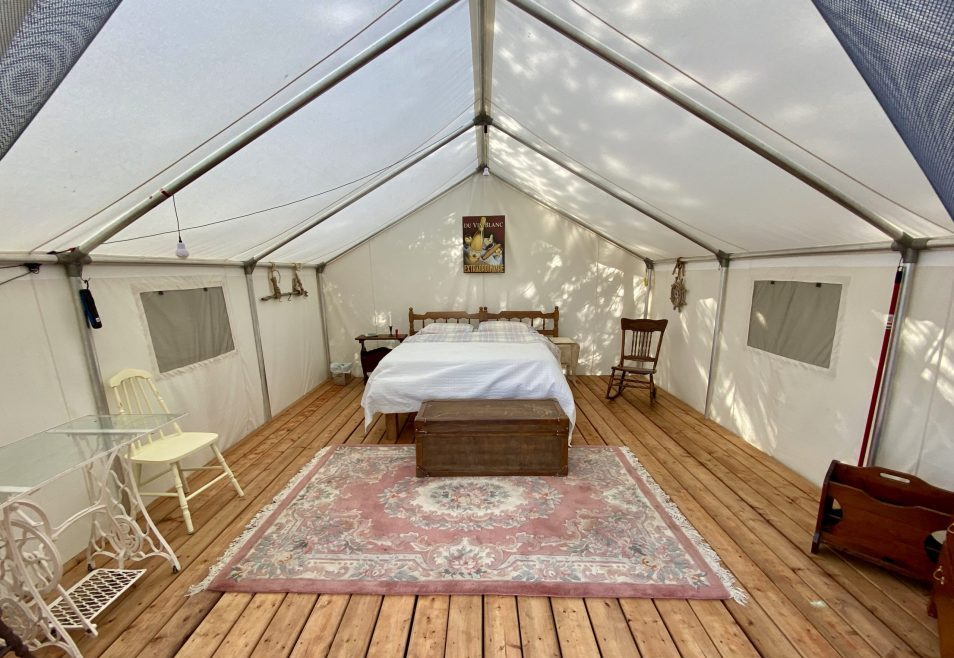 Inside a glamping tent on Farr Island