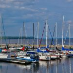 Sailboats at the Haileybury marina on lake Temiskaming