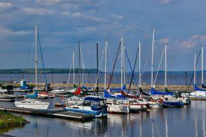 Sailboats at the Haileybury marina on lake Temiskaming